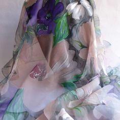 """Foulard en mousseline de soie peint main fleuri """" my fair lady…"""