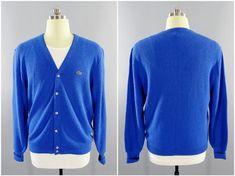 c97c528778 1970s - 1980s Vintage IZOD Lacoste Blue Cardigan Preppy Golf Sweater