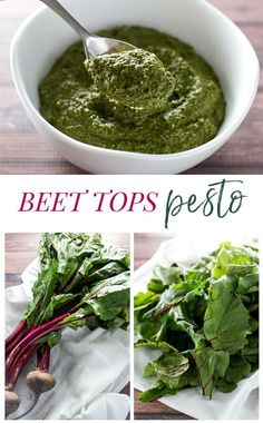 Love beets but don't know what to do with the greens? Don't toss them - use them to make a delicious beet tops pesto! Real Food Recipes, Vegan Recipes, Cooking Recipes, Yummy Food, Tasty, Beet Green Recipes, Green Pesto, Gluten Free Sides Dishes, Homemade Pesto