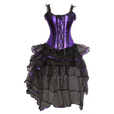 A3409 - Purple Satin Corset With Lace Overlay and Long Netted Skirt