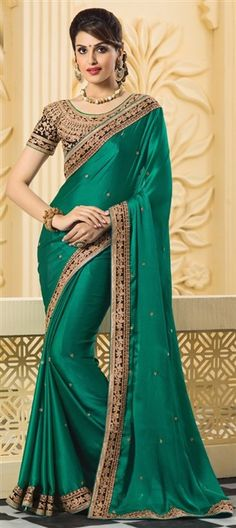 183029 Green color family Embroidered Sarees, Party Wear Sarees in Faux Chiffon, Satin fabric with Border, Machine Embroidery, Stone, Thread work with matching unstitched blouse.