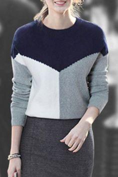 Elegant Jewel Neck Long Sleeve Color Block Women's Knitwear
