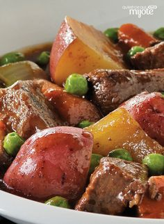 The name says it all in our Slow-Cooker Hearty Beef Stew recipe. This beef stew is the perfect winter warmer - made with boneless stewing beef, carrots, onions, potatoes and peas, it's comfort food at its best. Crock Pot Slow Cooker, Slow Cooker Recipes, Cooking Recipes, What's Cooking, Hearty Beef Stew, Beef Stews, Ground Beef Dishes, Healthy Crockpot Recipes, Ethnic Recipes