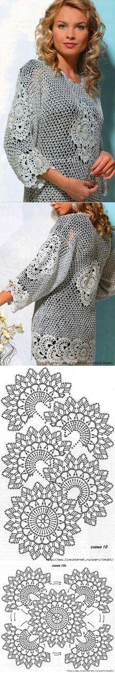 Крючок.Ажурный пуловер