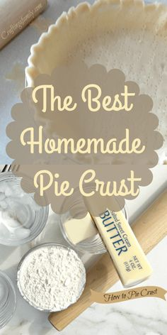 I love a homemade pie crust. I have had many a family member give me their recipe but this has been the quickest and tastiest that I have used through the years. Easy pie crust for any pie, Thanksgiving & Christmas Holidays & parties Homemade Pie Crust Easy, Easy Pie Crust, Pie Crust Recipes, Best Pie Crust Recipe, Pie Dough Recipe Easy, Quiche Crust Recipe, Pie Pastry Recipe, Butter Recipe, Desert Recipes