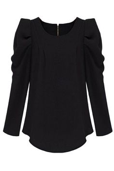 Pleated Asymmetric Slim Black Blouse