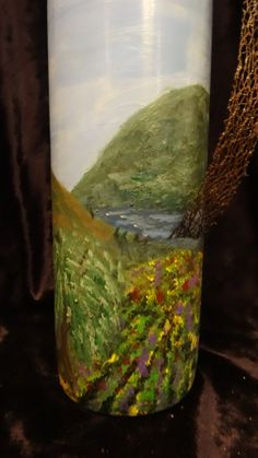 Vineyard hand painted on wine bottle by Celise Paine $25.00 follow or msg me on facebook for special orders or available paintings, prints and bottles for sale