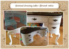 French white dressing table with natural wood top