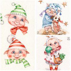 Инга Измайлова SmG pig акварель открытка иллюстрация свинка свинья кабан год свиньи