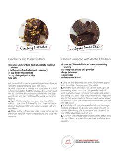 Chili Dark Chocolate Bark...180 oz dark chocolate, 1 1/2 tsp ancho ...
