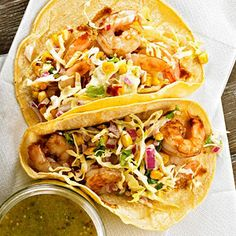 Tamarind Shrimp Tacos with Roasted Corn Slaw From Better Homes and Gardens, ideas and improvement projects for your home and garden plus recipes and entertaining ideas.