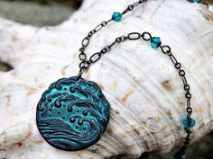 Stormy seas Necklace - Gunmetal black  teal patina waves pendant   NightOwlJewelry - Jewelry on ArtFire