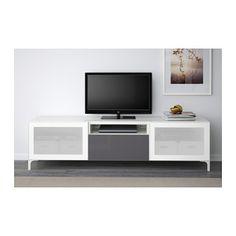 BESTÅ TV unit - white/Selsviken high-gloss/gray frosted glass, drawer runner, push-open, 180x40x48 cm - IKEA