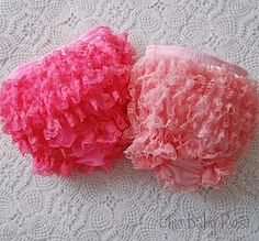Chic Baby Rose Frilly Lace Hot Pink or Light Pink Diaper Cover Bloomer