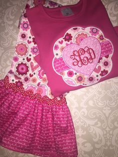 Valentine monogram outfit for girls, valentine applique ruffle tee shirt and pants, girls valentine gift, toddler valentine outfit by osewcrazykids on Etsy