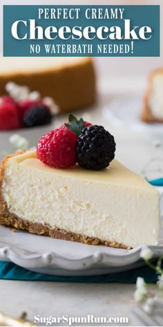 cheesecake recipes A rich, creamy, PERFECT Cheesecake Recipe! Oh, and theres NO water bath required! Brownie Desserts, Oreo Dessert, Köstliche Desserts, Delicious Desserts, Dessert Recipes, Yummy Food, Health Desserts, Dinner Recipes, Perfect Cheesecake Recipe