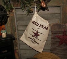 Primitive Accent Antique Vtg Style Decor Red Star Coffee Feed Sack Ditty Bag #NaivePrimitive