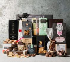 Buy Chocolate & Sweet Gift Baskets and Hampers from Gourmet Basket Australia. Hassle-free Chocolate gift basket delivery available! Chocolate Basket, Chocolate Hampers, Chocolate Sweets, Chocolate Gifts, Gourmet Baskets, Gift Baskets, Wine Hampers, Hampers Online, Food Flatlay