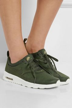 White rubber sole measures approximately 40mm/ 1.5 inches Forest-green leather and satin-jacquard Lace-up front Designer color: Carbon Green