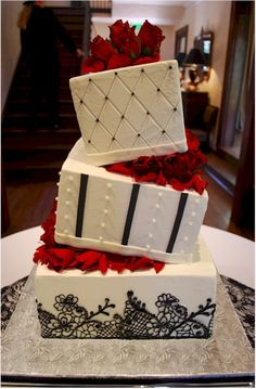 Black Lace Wedding Cake with Wedge Separators love it