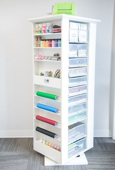 Organize your corner with the rotating Studio Tower to reveal all of your craft supplies for easy access!