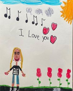 I love my sons art. This picture was completely spontaneous on his part. I love the fact that he sees me surrounded by beautiful sunny weather pretty colored flowers music and love. And of course -jewelry! The long dangly earrings -and if you zoom in you can see a beautiful gold ring and bracelet. I guess my son knows what I love.  #jenniferdemorojewelry I Love My Son, Love You, Beautiful Gold Rings, Sunny Weather, Dangly Earrings, Sons, Bracelet, Music, Pretty