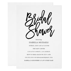 Modern Script Bridal Shower Invitation - wedding invitations diy cyo special idea personalize card