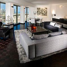Living Room light carpet and dark wood
