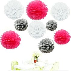 Since18Pcs of 8 10 14 3 Colors Mixed White Grey Hot pink Tissue Paper FlowersTissue Paper Pom PomsWedding Party DecorPom Pom FlowersTissue Paper Flowers KitPom Poms CraftWedding Pom Poms ** Read more reviews of the product by visiting the link on the image.Note:It is affiliate link to Amazon.