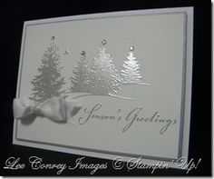 Scenic Season in White and Silver embossing - bjl Homemade Christmas Cards, Christmas Cards To Make, Noel Christmas, Xmas Cards, Handmade Christmas, Homemade Cards, Holiday Cards, Silver Christmas, Cards Diy