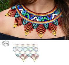 Дыхание Бисера #collares #collaresbisuteria #collaresdebisuteria #bisuteria #bisuterias #pulseras #pendientes Beading Patterns Free, Bead Loom Patterns, Beading Tutorials, Diy Necklace Patterns, Beaded Necklace Patterns, Beaded Crafts, Beaded Collar, Collar Pattern, Zulu