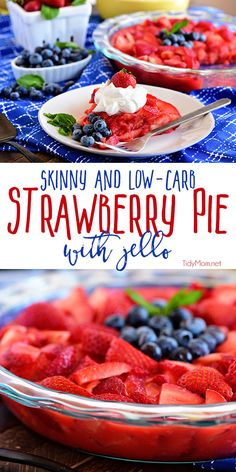 A Simple Strawberry Pie With Jello Is The Perfect Skinny Dessert. Only Four Guilt-Free Ingredients And You Have A Beautiful Low-Carb And Diabetic Friendly Crustless Jello Pie. The Whole Pie Is Just 4 Weight Watchers Freestyle Points Print Full Recipe At Easy No Bake Desserts, Best Dessert Recipes, Low Carb Desserts, Pie Recipes, Healthy Recipes, Easy Recipes, Family Recipes, Cheesecake Recipes, Healthy Snacks