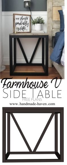 Master Bedroom Furniture Diy Side Tables 67 Ideas For 2019 Farmhouse End Tables, Diy End Tables, Side Tables Bedroom, Diy Table, Modern Farmhouse, Side Table Decor, Bed Side Table Ideas, Home Decor Bedroom, Diy Bedroom