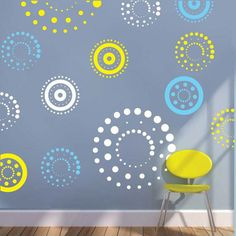 To get multiple color arrangements, place multiple orders of the same Circling Dots Wall Decals design pack in the colors of your choice and really mix it up! Circling Dots are made from interior safe, removable vinyl. Vinyl Wall Stickers, Vinyl Wall Decals, Wall Paint Treatments, Home Wall Painting, Home Depot Paint, Wall Paint Patterns, Bedroom Wall Designs, Cool Walls, Diy Design