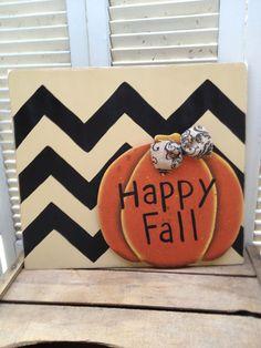 Tan and Black Chevron Happy Fall Pumpkin Sign Fall Wood Decor Autumn Home Decor