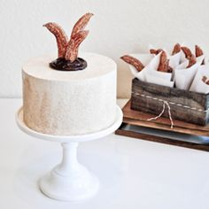 A churro inspired cake. Coated with cinnamon sugar and filled with spiced chocolate ganache.