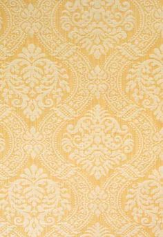 Fabric | Port Charlotte Damask in Antique Gold | Schumacher #61211 Maybe this is the right yellow?