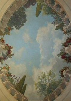 painted sky on ceiling Faux Painting, Mural Painting, Tole Painting, Diy Painting, Paintings, Ceiling Murals, Wall Murals, Wall Art, Bedroom Wall Colors