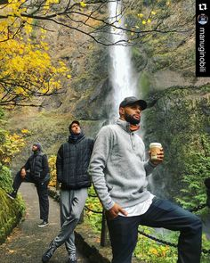 A little team bonding in Portland. #Repost Manu Ginobili 2015 Quick drive and hike to Multnomah Falls with Patty, Manu and Boris. Beautiful place!