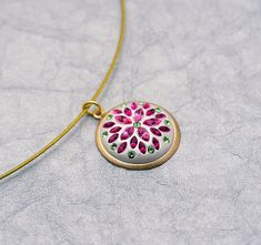 In the Pink Floral Swarovski pendant with rose by MoonBubbles, $40.00