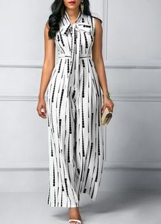 Tie Neck Sleeveless High Waist Printed Jumpsuit on sale only US$36.32 now, buy cheap Tie Neck Sleeveless High Waist Printed Jumpsuit at liligal.com