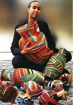 Stephen Burks - vases made from scraps of Missoni knitwear cast-off's from the fashion industry, these vases are covered in a knit patchwork and sealed with a resin. ♥