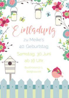 Romantische Einladungskarte zum Geburtstag mit Blumen, Lampions und Vogel #einladunggeburtstag.de