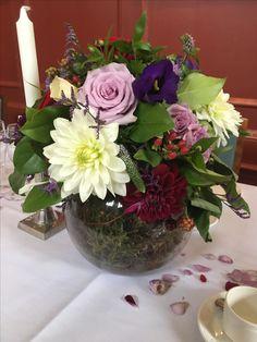 Table arrangement at sidney sussex college cambridge September Wedding Flowers, Seasonal Flowers, Table Arrangements, Cambridge, Glass Vase, Seasons, Plants, Home Decor