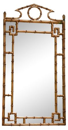 "21""x42"" Bamboo Mirror, Gold"