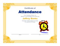 Free Printable Editable Certificates Best Certification Of Attendance  Certificate Template  Pinterest .