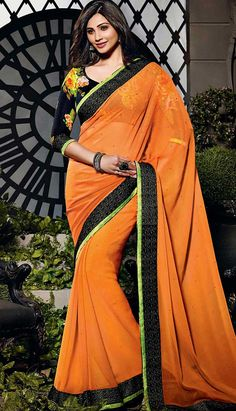 Purchase the Fashionable Latest Orange Georgette #CasualSaree Online with Great Collection.  #Price INR- 2992 Link- http://alturl.com/969yp