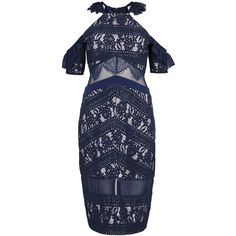 THREE FLOOR Inky navy open-shoulder lace dress (£290) ❤ liked on Polyvore featuring dresses, cold shoulder dress, navy lace cocktail dress, cold shoulder cocktail dress, navy lace dress and navy dress