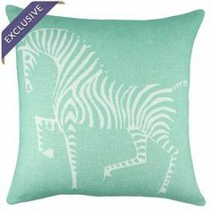 """$59.95.   Pillow with a zebra motif. Handmade in the USA.   Product: PillowConstruction Material: Linen blendColor: Mint and whiteFeatures:  Envelope enclosureMade in the USAInsert includedHandmade by TheWatsonShopExclusive Joss & Main product Dimensions: 16"""" x 16""""Cleaning and Care: Dry clean only"""