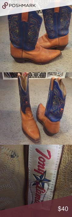 Tony Lama boots Blue Tony Lama boots. Great for dancing or riding horses! Worn but still in great condition! Tony Lama Shoes Heeled Boots